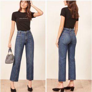 Reformation High Rise Wide Leg Jeans Medium Wash